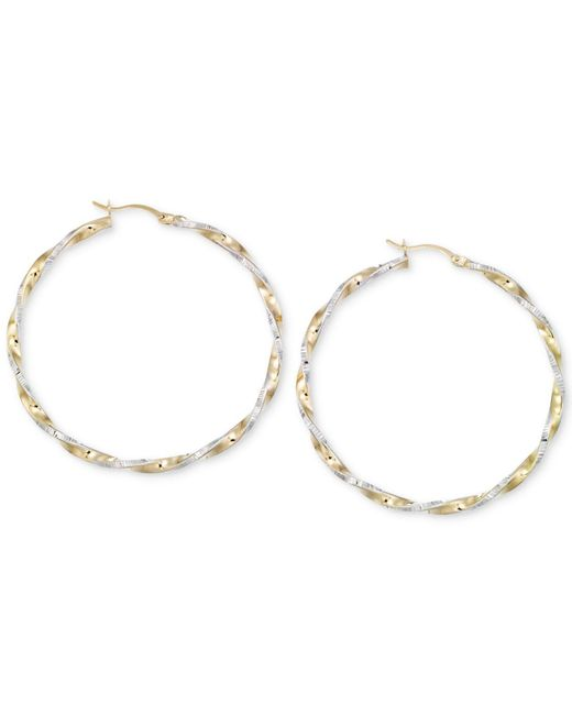 Macy's - Metallic Twisted Hoop Earrings In 14k Gold And White Vermeil - Lyst