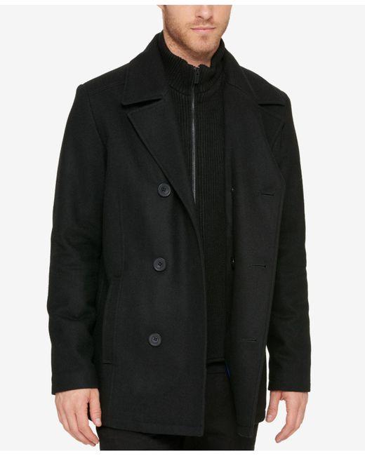Kenneth Cole Reaction - Black Men's Bibbed Pea Coat for Men - Lyst