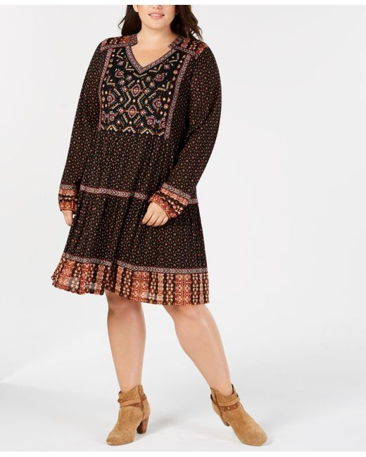 Lyst Style Co Plus Size Mixed Print Beaded Embroidered Peasant