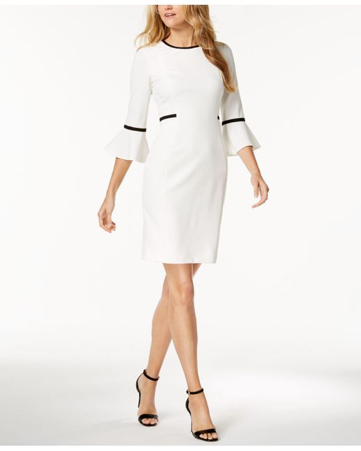 Calvin Klein - White Piped Bell-sleeve Sheath Dress, Regular & Petite - Lyst