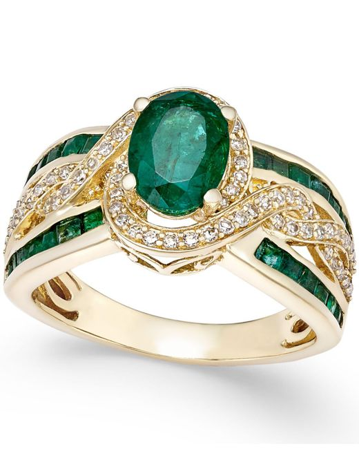 Macy's - Green Sapphire (2-3/4 Ct. T.w.) And Diamond (1/3 Ct. T.w.) Ring In 14k White Gold - Lyst
