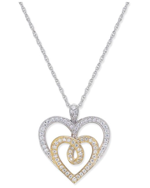 Macy's - Metallic Diamond Two-tone Heart Pendant Necklace (1/3 Ct. T.w.) In 14k Gold And White Gold - Lyst