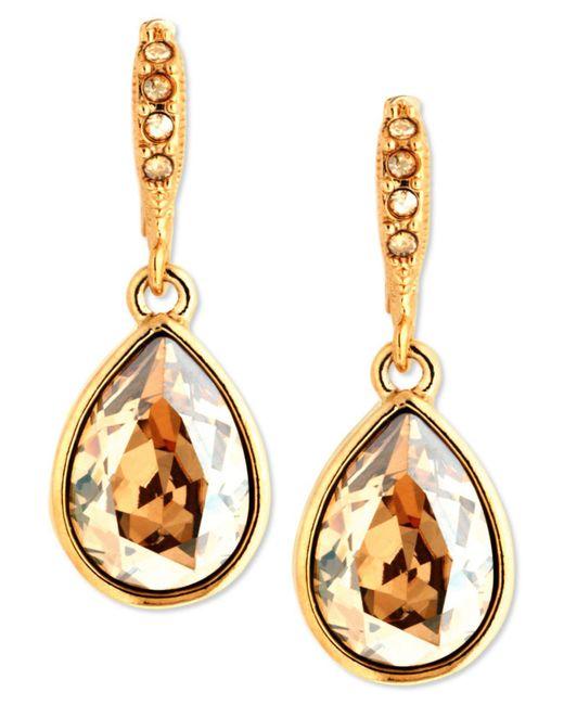 Givenchy | Metallic Earrings, Gold-tone Golden Shadow Swarovski Element Drop Earrings | Lyst