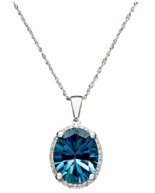 Macy's - London Blue Topaz (4-1/10 Ct. T.w.) And Diamond Accent Oval Pendant In 14k White Gold - Lyst