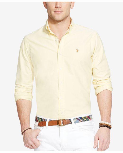 Polo Ralph Lauren | Yellow Solid Oxford Shirt for Men | Lyst