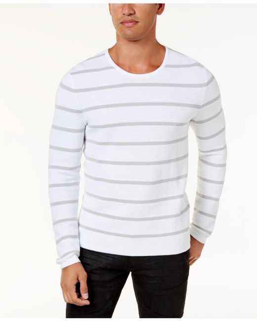 INC International Concepts | White Men's Textured Striped Sweater for Men | Lyst