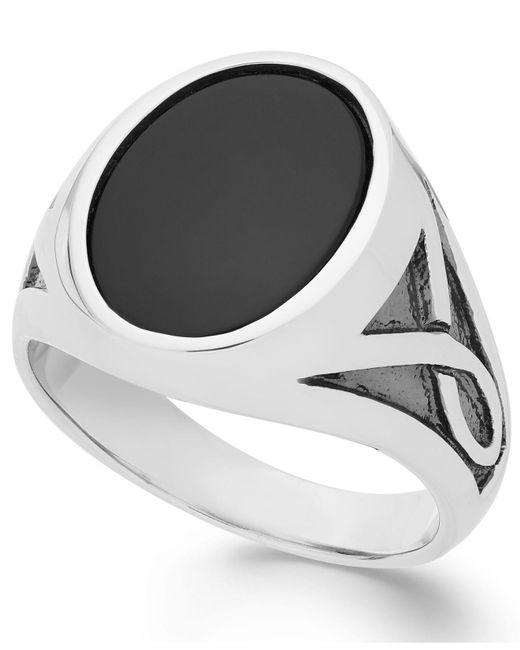 Macy's   Black Men's Onyx Oval Ring In Sterling Silver (3-1/3 Ct. T.w.) for Men   Lyst