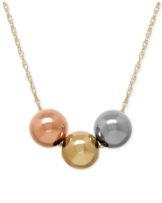 Macy's - Gray Three-bead Tri-tone Necklace In 10k Gold - Lyst