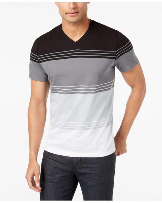 Alfani - Black Men's Colorblocked Striped T-shirt for Men - Lyst
