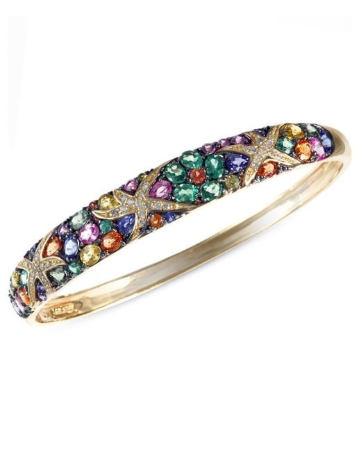 Effy Collection | Multicolor Sapphire (7-5/8 Ct. T.w.) And Diamond (1/4 Ct. T.w.) Starfish Bangle In 14k Gold | Lyst