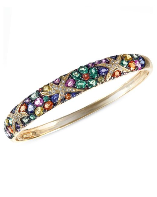 Effy Collection - Multicolor Sapphire (7-5/8 Ct. T.w.) And Diamond (1/4 Ct. T.w.) Starfish Bangle In 14k Gold - Lyst