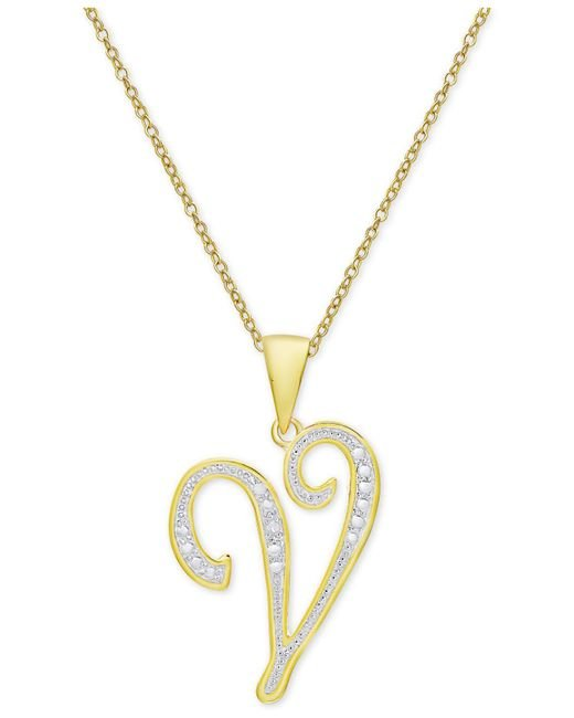 Macy's - Metallic Diamond Accent Script Initial Pendant Necklace In 18k Gold-plated Sterling Silver - Lyst