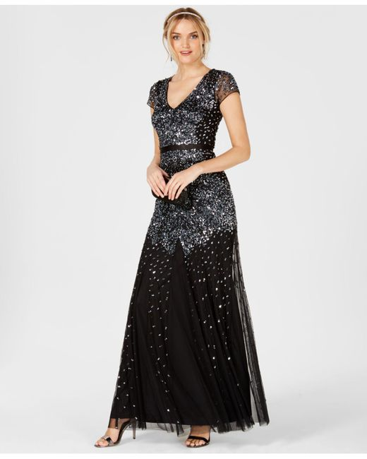 Adrianna Papell - Black Embellished Chiffon Gown - Lyst