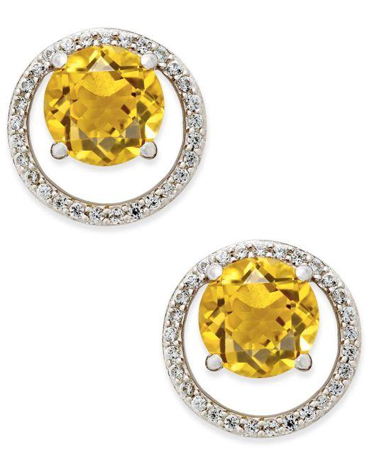 Macy's - Metallic Gemstone (1-1/2 Ct. T.w.) And Diamond (1/6 Ct. T.w.) Round Halo Birthstone Stud Earrings In Sterling Silver - Lyst