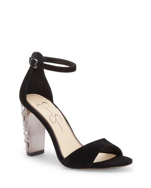Jessica Simpson Black Verena Studded Heel Dress Sandals