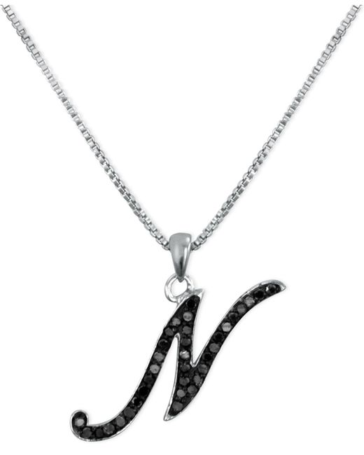"Macy's - Metallic Sterling Silver Necklace, Black Diamond ""n"" Initial Pendant (1/4 Ct. T.w.) - Lyst"