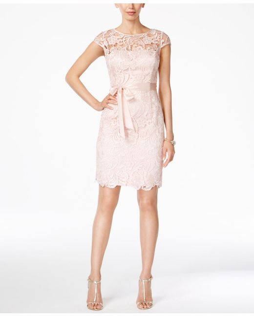 Adrianna Papell | Pink Cap-sleeve Illusion Lace Sheath | Lyst