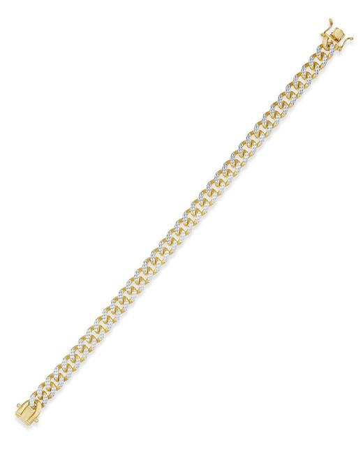 Macy's - Metallic Men's Two-tone Cuban Link Chain Bracelet In 18k Gold-plated Sterling Silver And Sterling Silver - Lyst