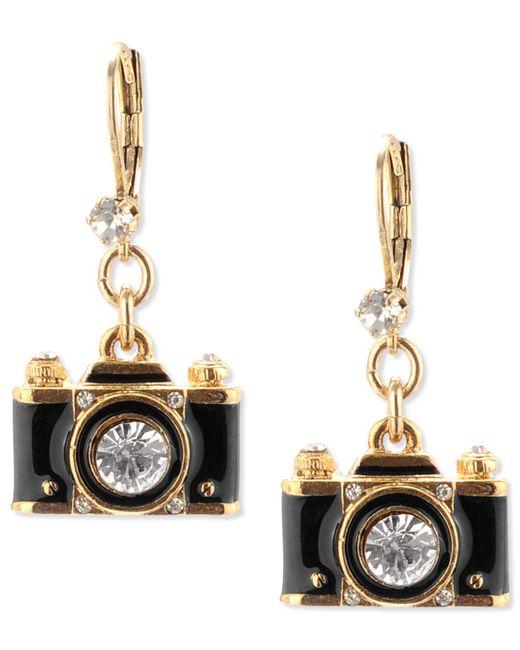 Betsey Johnson | Metallic Gold-tone Black Camera Crystal Drop Earrings | Lyst