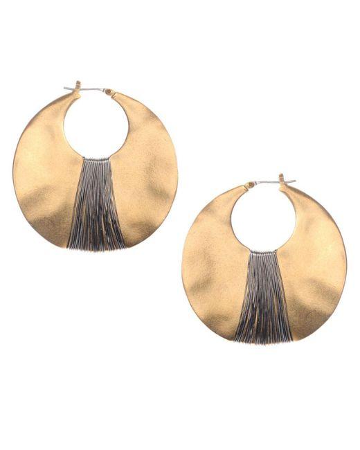 Kenneth Cole | Metallic Earrings, Gold-tone Shell Drop Hoop | Lyst