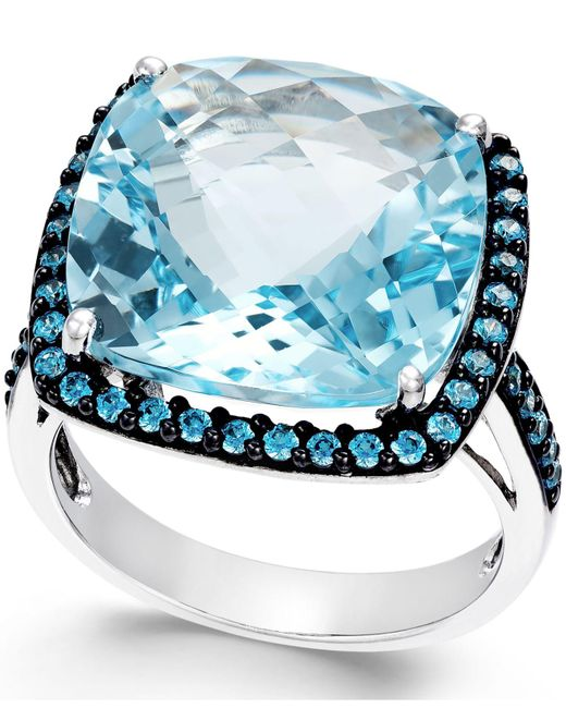 Macy's - Metallic Blue Topaz (12mm) And Swarovski Zirconia Ring In Sterling Silver - Lyst