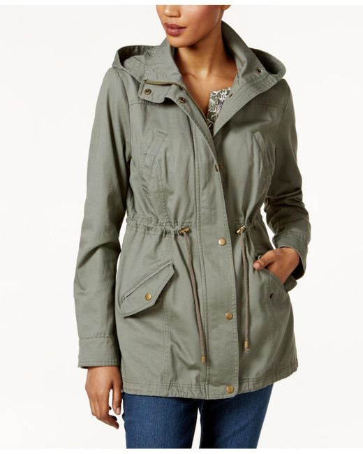 Style & Co. | Green Petite Cotton Hooded Utility Jacket | Lyst