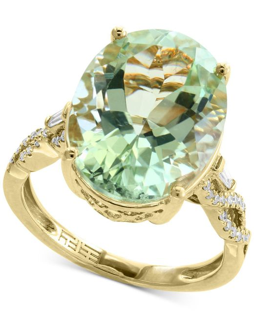 Effy Collection - Green Amethyst (8-3/4 Ct. T.w.) & Diamond (1/5 Ct. T.w.) Ring In 14k Gold - Lyst