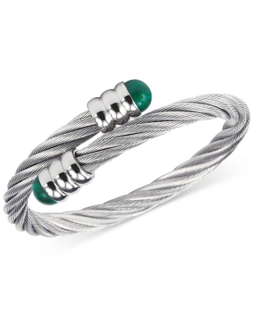 Charriol | Metallic Women's Celtic Malachite-accent Stainless Steel Cable Bangle Bracelet 04-01-1165-4 | Lyst