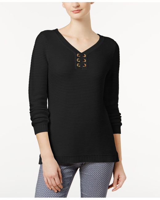 Charter Club | Black Ribbed Grommet Sweater, Created For Macy's | Lyst