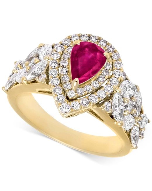 Rare Featuring Gemfields | Pink Certified Ruby (5/8 Ct. T.w.) And Diamond (1-1/10 Ct. T.w.) Ring In 14k Gold | Lyst