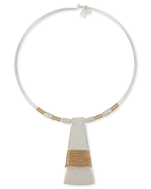 "Robert Lee Morris - Metallic Two-tone Wire-wrapped 16"" Pendant Necklace - Lyst"
