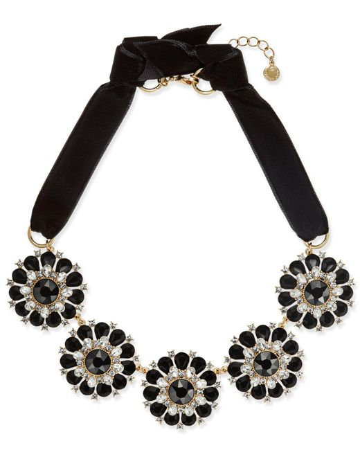 Charter Club   Metallic Gold-tone Jet & Clear Crystal Velvet Statement Necklace   Lyst