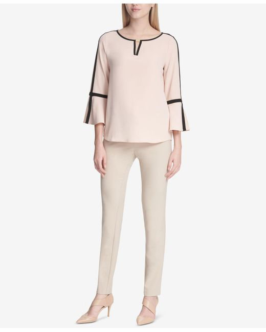 21cac55bceffc8 ... Calvin Klein - Pink Contrast-trim Bell-sleeve Top - Lyst