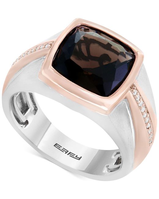 Effy Collection | Metallic Men's Smoky Quartz (4 Ct. T.w.) & Diamond (1/10 Ct. T.w.) Two-tone Ring In Sterling Silver & Rose Rhodium-plate | Lyst