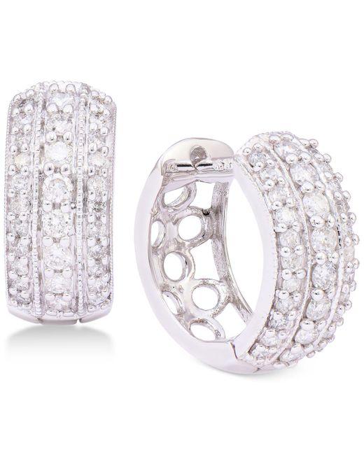 Macy's | Multicolor Diamond Three-row Hoop Earrings (5/8 Ct. T.w.) In 14k White Gold | Lyst