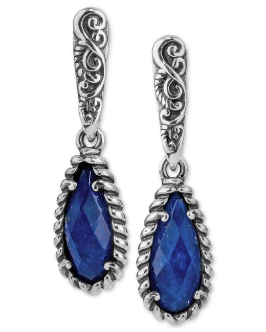 Carolyn Pollack - Blue Lapis Lazuli/rock Quartz Drop Earrings (4-7/8 Ct. T.w.) In Sterling Silver - Lyst
