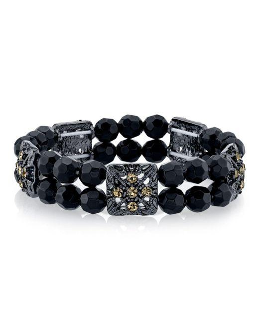2028 - Black-tone Black Beaded Bracelet - Lyst