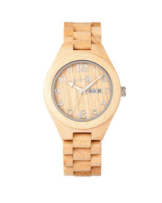 Earth Wood - Metallic Sapwood Wood Bracelet Watch W/date Khaki 41mm - Lyst