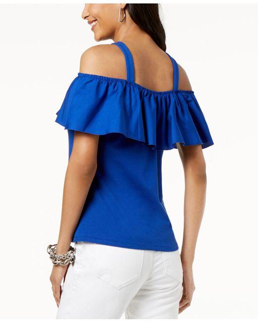 bd6e171489542 ... INC International Concepts - Blue I.n.c. Ruffled Off-the-shoulder Top