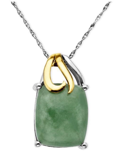 Macy's - Green 14k Gold And Sterling Silver Pendant, Jade Rectangle (5-3/8 Ct. T.w.) - Lyst