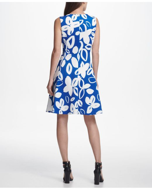 d6920d66ecd ... Lyst DKNY - Blue Graphic Floral Print Scuba Fit   Flare Dress ...