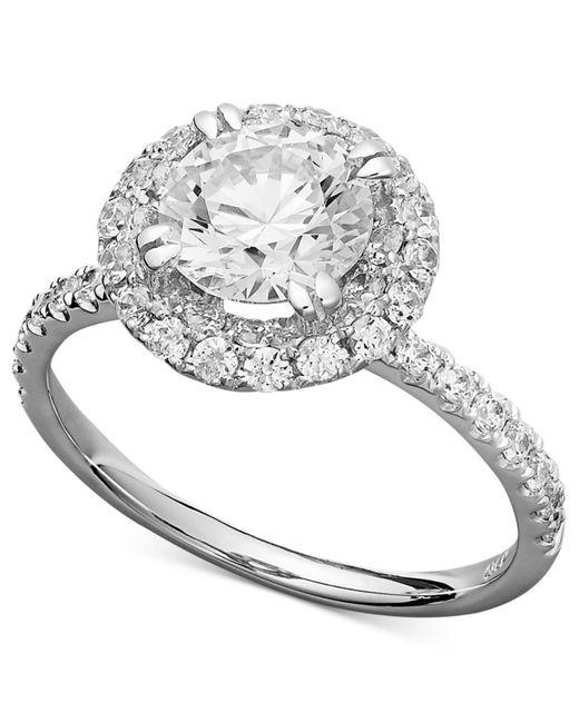 Arabella - Metallic 14k White Gold Ring, Swarovski Zirconia Round Pave Engagement Ring (3-1/2 Ct. T.w.) - Lyst
