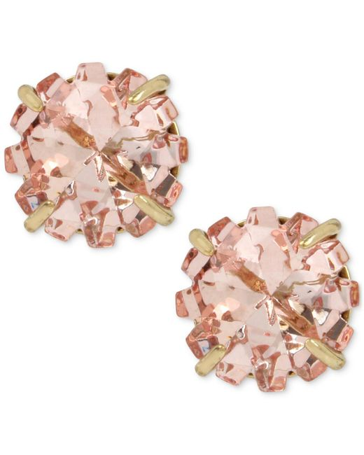 Betsey Johnson | Gold-tone Pink Crystal Glitter Stud Earrings | Lyst