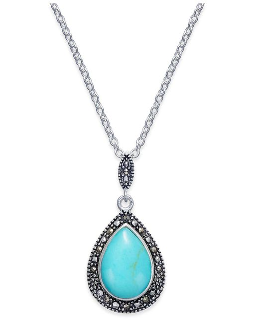 Macy's - Blue Manufactured Turquoise & Marcasite Teardrop Pendant Necklace In Silver-plate - Lyst