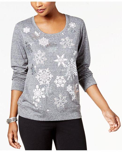 Style & Co. | Gray Snowflake-embellished Sweatshirt | Lyst