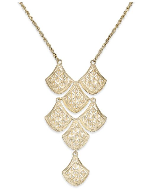 Macy's - Metallic Diamond-cut Mesh Linked Frontal Necklace In 14k Gold - Lyst
