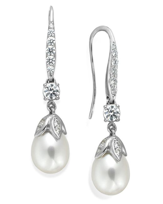 Arabella | Metallic Cultured Freshwater Pearl (8mm) And Swarovski Zirconia (1-5/8 Ct. T.w.) Leaf Drop Earrings In Sterling Silver | Lyst
