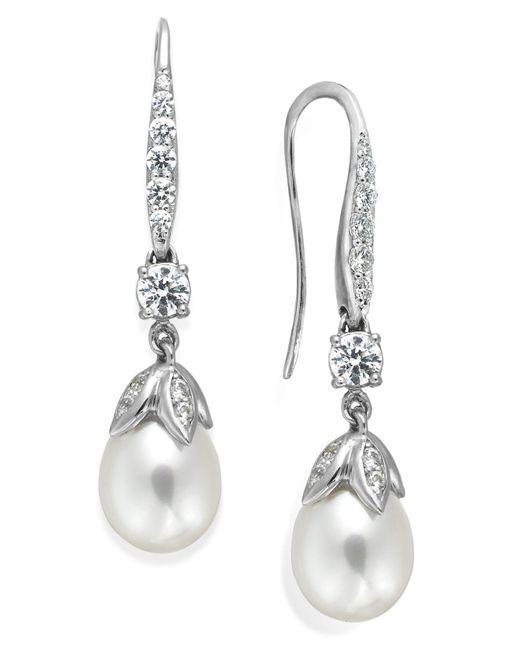 Arabella | Metallic Cultured Freshwater Pearl (8mm) And Swarovski Zirconia (1-5/8 Ct. T.w.) Leaf Drop Earrings In Sterling Silver | Lyst