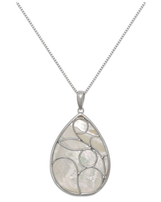 Macy's - Metallic Caged Genuine Mother Of Pearl Pendant Necklace In Sterling Silver (33mm) - Lyst