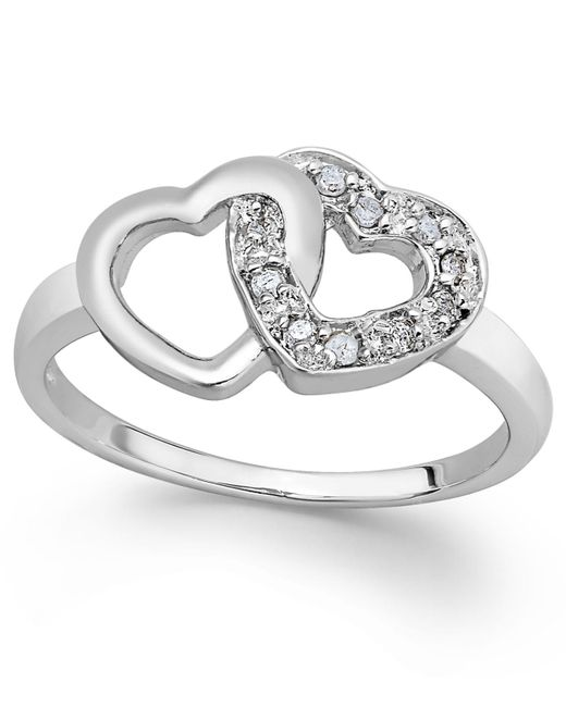 Macy's - Metallic Diamond Double Heart Ring In Sterling Silver (1/10 Ct. T.w.) - Lyst